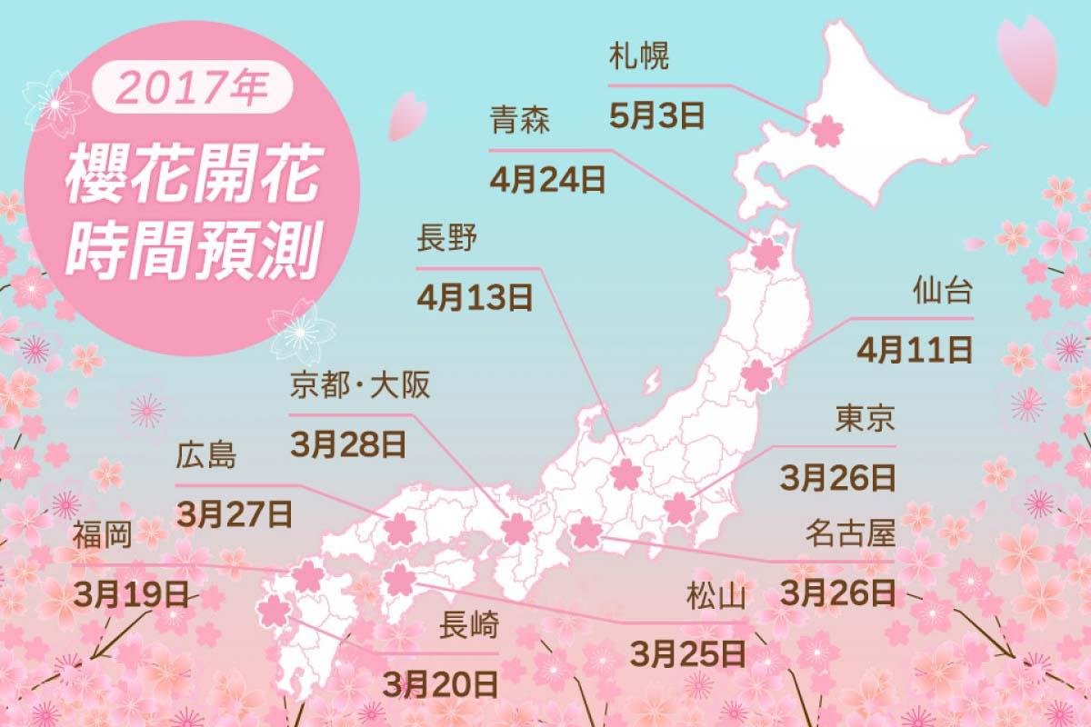 2017日本全國櫻花開花日期預測