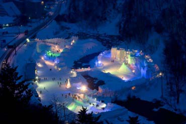 Sounkyo-Onsen Ice Waterfall Festival(Furano, Biei, Sounkyo Gorge)